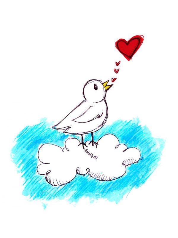 Uccellino designed by Anna Molisani. T-shirt bio girocollo a maniche corte con cuciture laterali, pulite, minimal. Indossa TEENTO. Wear The Passion!