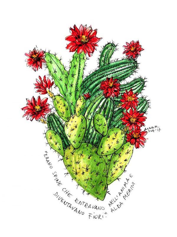 Cuore Cactus designed by Anna Molisani. T-shirt bio girocollo a maniche corte con cuciture laterali, pulite, minimal. Indossa TEENTO. Wear The Passion!