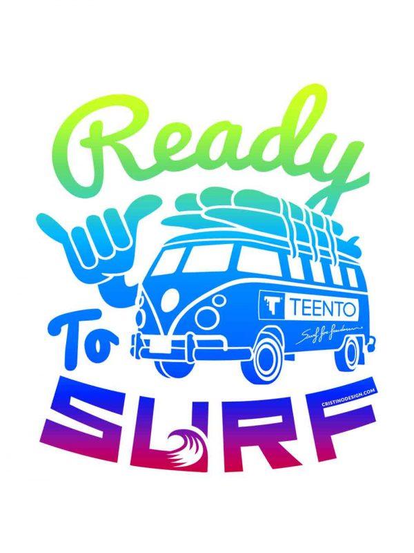 Ready to surf designed by Riccardo Cristino Design. T-shirt bio girocollo a maniche corte con cuciture laterali, pulite, minimal. Indossa TEENTO. Wear The Passion!