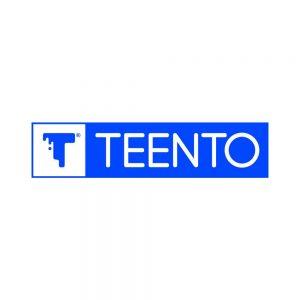 Logo Teento Azzurro su chiari . T-shirt bio girocollo a maniche corte con cuciture laterali, pulite, minimal. Indossa TEENTO. Wear The Passion!