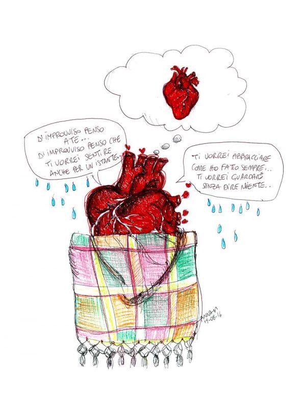 Cuore Coperta designed by Anna Molisani. T-shirt bio girocollo a maniche corte con cuciture laterali, pulite, minimal. Indossa TEENTO. Wear The Passion!