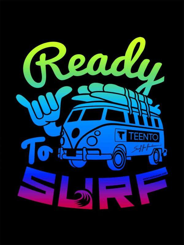 Ready to surf dark designed by Riccardo Cristino Design. T-shirt bio girocollo a maniche corte con cuciture laterali, pulite, minimal. Indossa TEENTO. Wear The Passion!