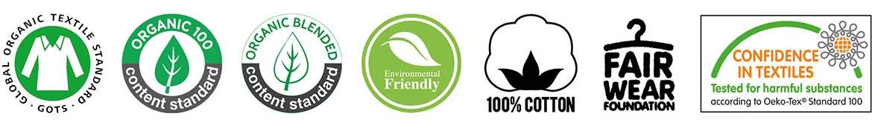 TEENTO Online Shop | T-shirt 100% Cotone Organico - chi siamo icone icons bio standards global organic textile standard organic 100 % content standard blended environmental friendly ecofriendly cotton fair wear foundation confidence in textiles Oeko-tex